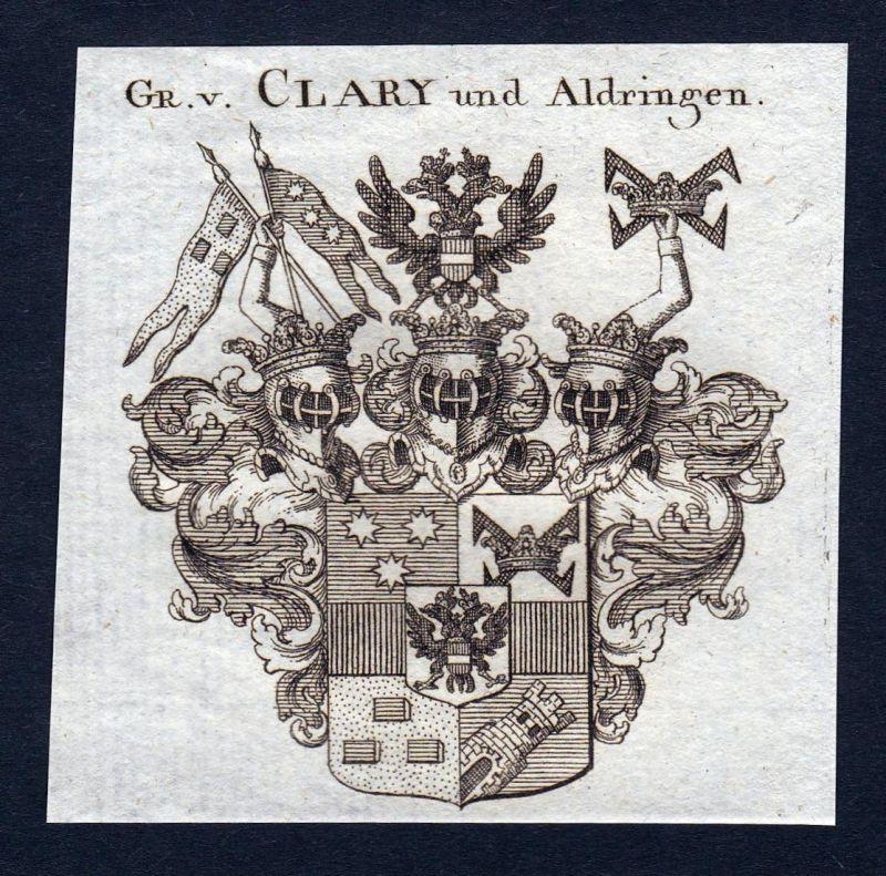 Gr. v. Clary und Aldringen - Clary und Aldringen Wappen Adel coat of arms Kupferstich antique print heraldry H