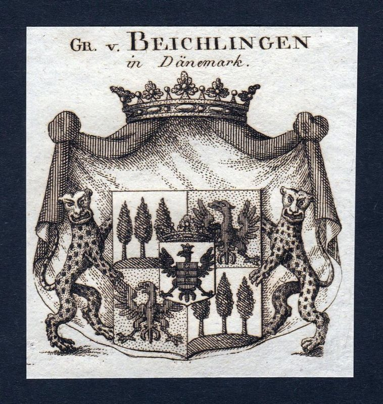 Gr. v. Beichlingen in Dänemark - Beichlingen Dänemark Denmark Wappen Adel coat of arms Kupferstich antique pri