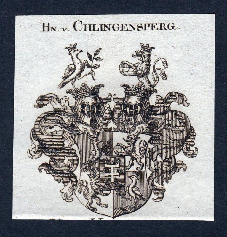 Hn. v. Chlingensperg - Chlingensperg Wappen Adel coat of arms Kupferstich antique print heraldry Heraldik
