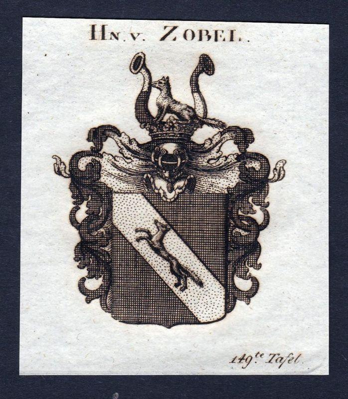 Hn. v. Zobel - Zobel von Giebelstadt Wappen Adel coat of arms Kupferstich antique print heraldry Heraldik