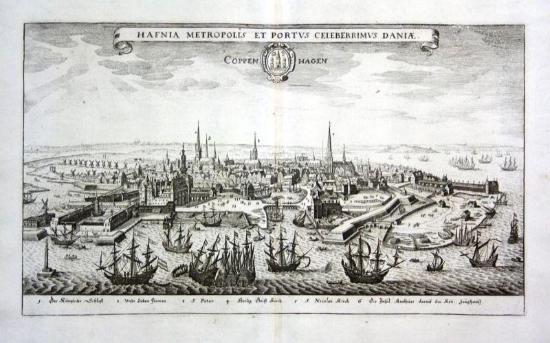 Coppenhagen - Koppenhagen Kobenhavn Danmark Denmark Ansicht view Kupferstich antique print