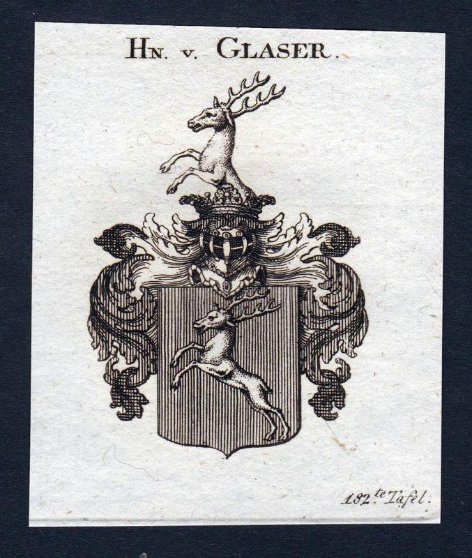 Hn. v. Glaser - Glaser Wappen Adel coat of arms Kupferstich antique print heraldry Heraldik