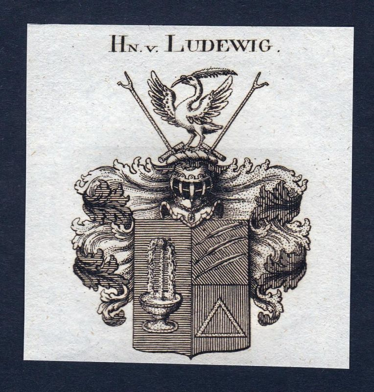 Hn. v. Ludewig - Ludewig Wappen Adel coat of arms Kupferstich antique print heraldry Heraldik