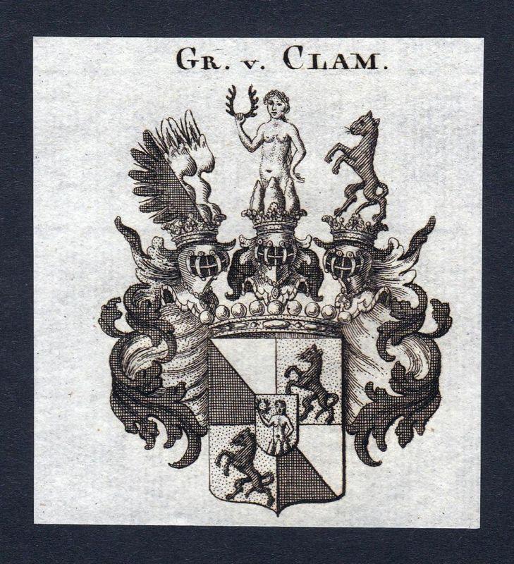 Gr. v. Clam - Clam Wappen Adel coat of arms Kupferstich antique print heraldry Heraldik