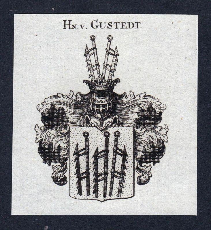 Hn. v. Gustedt - Gustedt Niederlande Wappen Adel coat of arms Kupferstich heraldry Heraldik engraving
