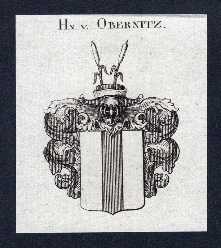 Hn. v. Obernitz - Obernitz Thüringen Osterland Wappen Adel coat of arms Kupferstich heraldry Heraldik engravin