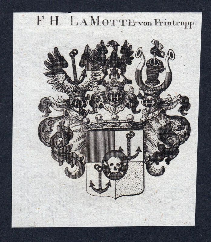 F. Hn. Lamotte von Frintropp - Lamotte Frintropp Frintrop Wappen Adel coat of arms heraldry Heraldik Kupfersti