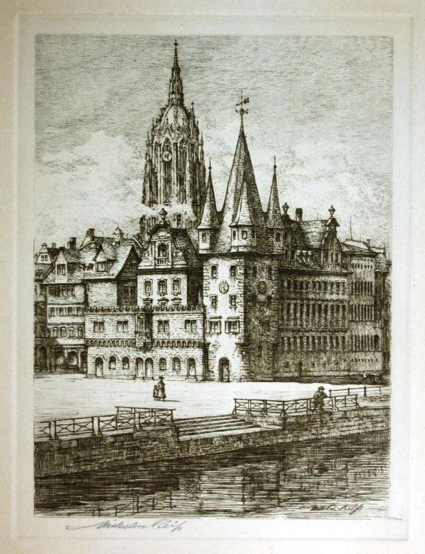 Frankfurt am Main Kaiserdom signiert Radierung etching