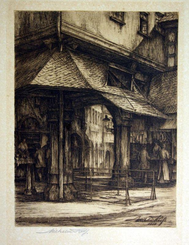 Frankfurt am Main Strasse Verkaufsstand signiert Radierung etching