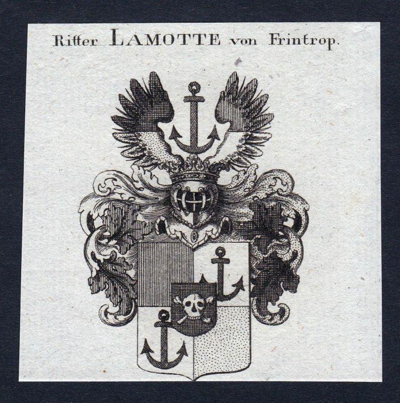 Ritter Lamotte von Frintrop - Lamotte Frintrop Frintropp Wappen Adel coat of arms heraldry Heraldik Kupferstic