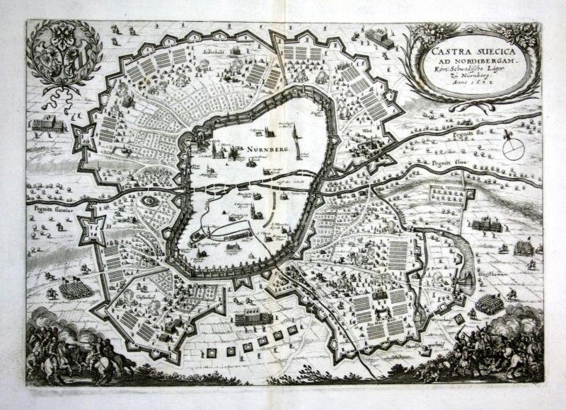 Castra Suecica ad Norimbergam - Nürnberg Schweden Lager Ansicht map Karte Kupferstich antique print