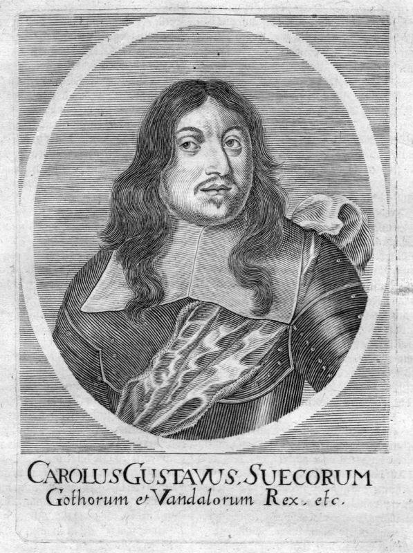 Carolus Gustavus - Karl X Gustaf kung Sverige Sweden Portrait Kupferstich antique print