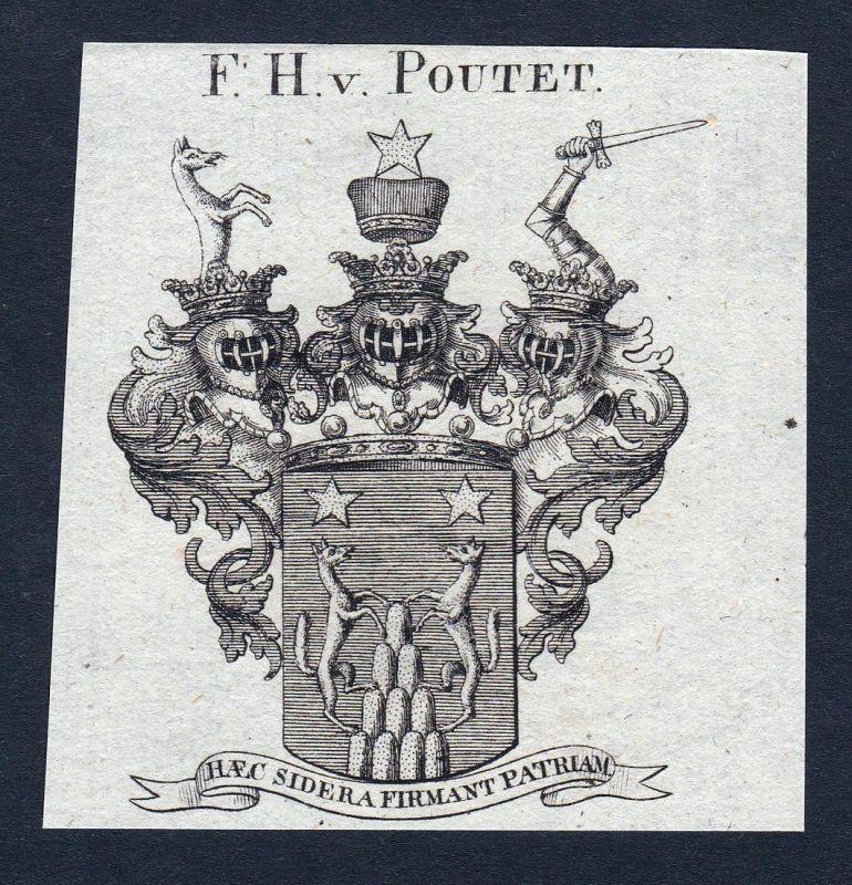 F.H. v. Poutet - Poutet Wappen Adel coat of arms Kupferstich antique print heraldry Heraldik