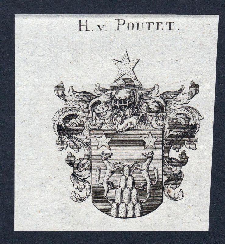 H. v. Poutet - Poutet Wappen Adel coat of arms Kupferstich antique print heraldry Heraldik