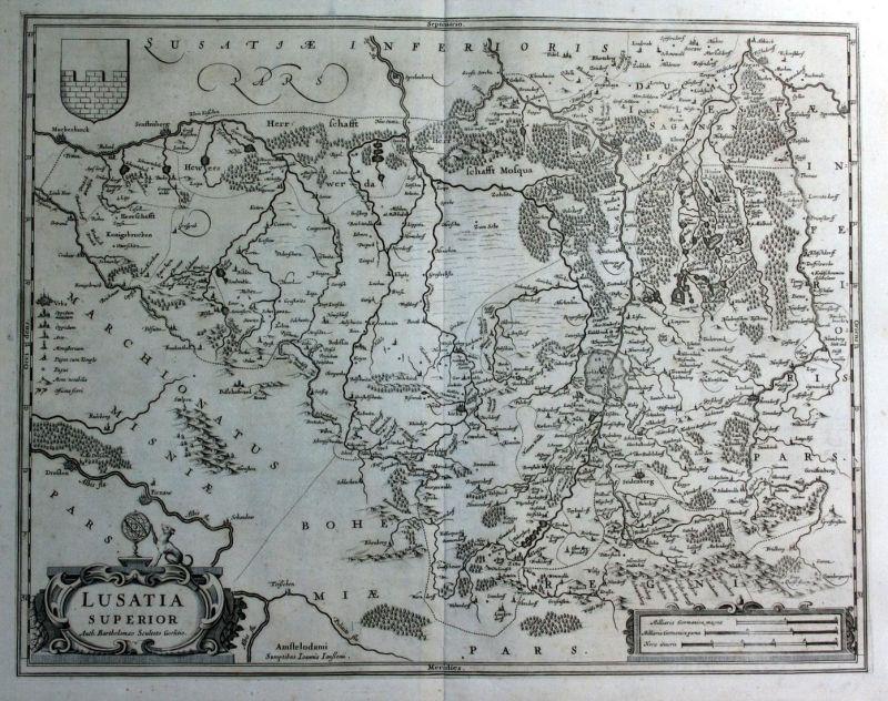 Lausitz Karte.Lusatia Superior Lausitz Gorlitz Polska Poland Karte Map Kupferstich Antique Print