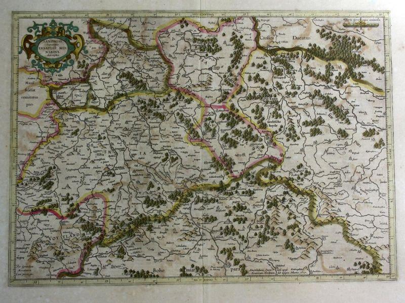 Saxoniae susperiouris Lusatiae Misniaeque descriptio - Sachsen Lausitz Meissen Karte map Kupferstich antique p