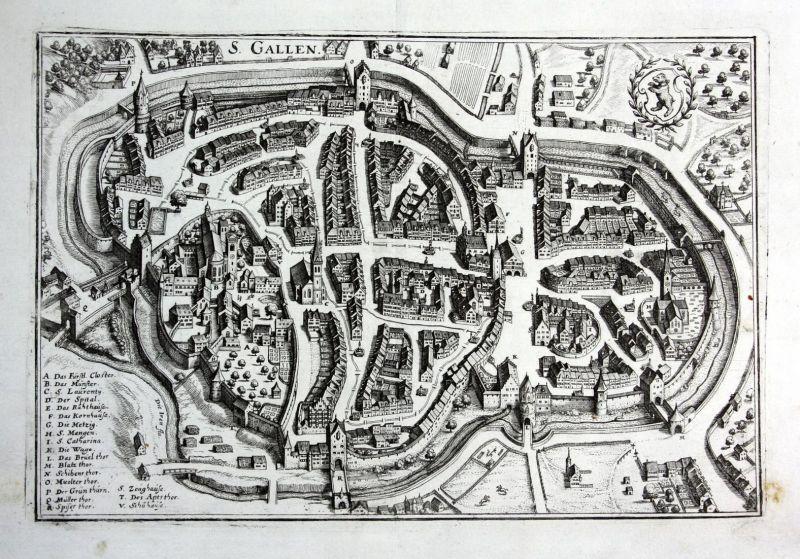 S. Gallen - St. Gallen Schweiz Ansicht Karte map Plan Kupferstich antique print