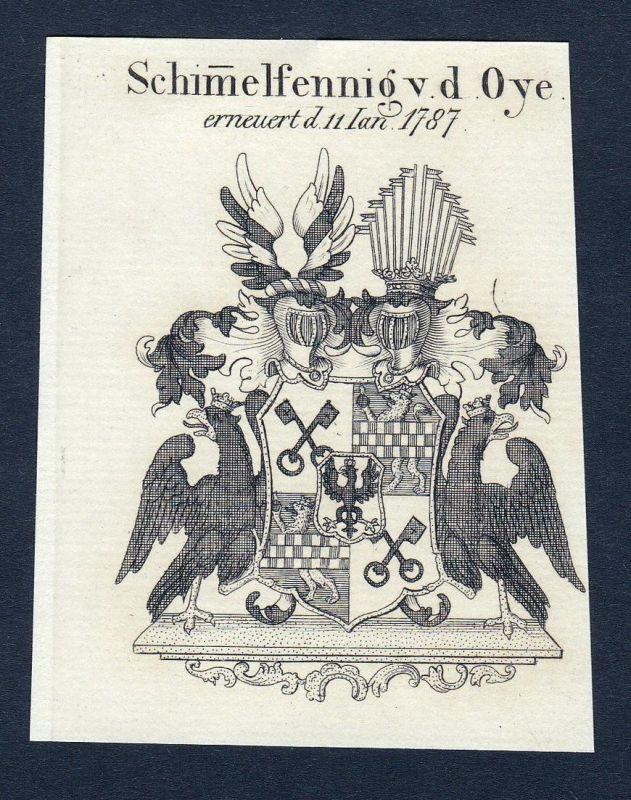 Schimelfennig v. d. Oye - Schimmelpfennig von der Oye Wappen Adel coat of arms Kupferstich antique print heral