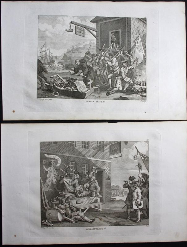 The Invasion: France | The Invasion: England - Invasion France England gravure Kupferstich antique print