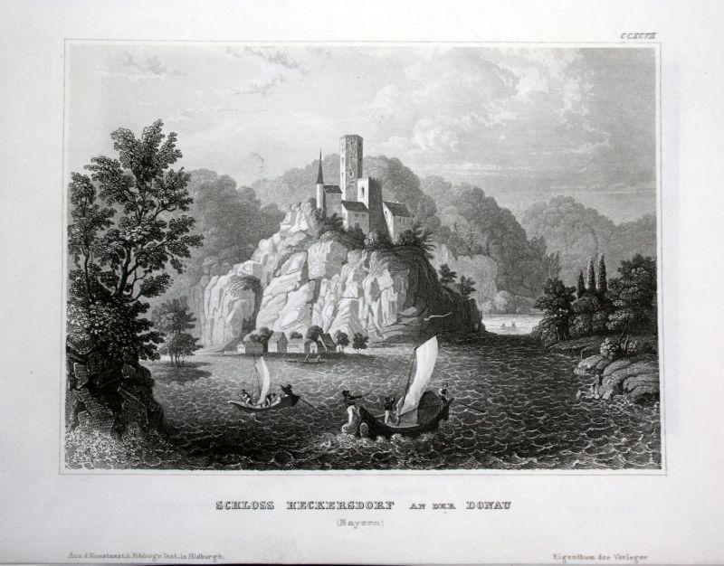 Schloss Heckersdorf an der Donau - Schloss Heckersdorf Donau Danube Ansicht Stahlstich antique print