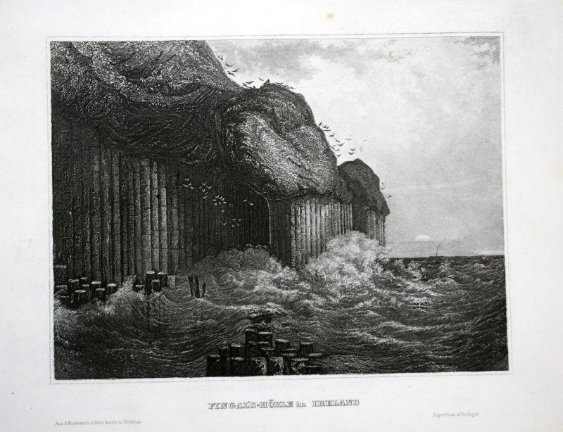 Fingal's-Höhle in Ireland - Fingal's Cave Uamh-Binn Staffa Scotland Ansicht Stahlstich antique print