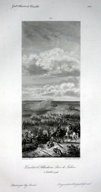 Combat d'Aldenhoven. Prise de Juliers - Aldenhoven Schlacht Ansicht vue estampe Stahlstich antique print