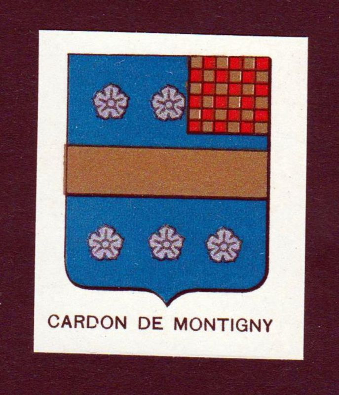 Cardon de Montigny - Cardon de Montigny Wappen Adel coat of arms heraldry Lithographie antique print blason