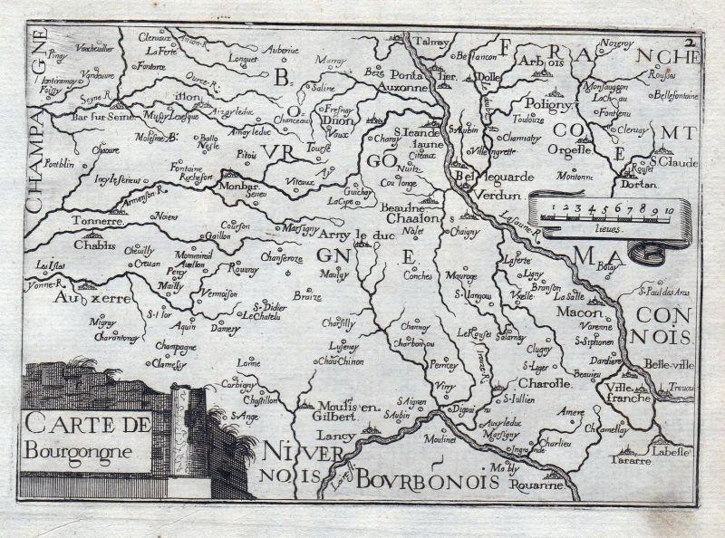 Carte de Bourgogne - Burgund Bourgogne Authun France gravure estampe Kupferstich Tassin