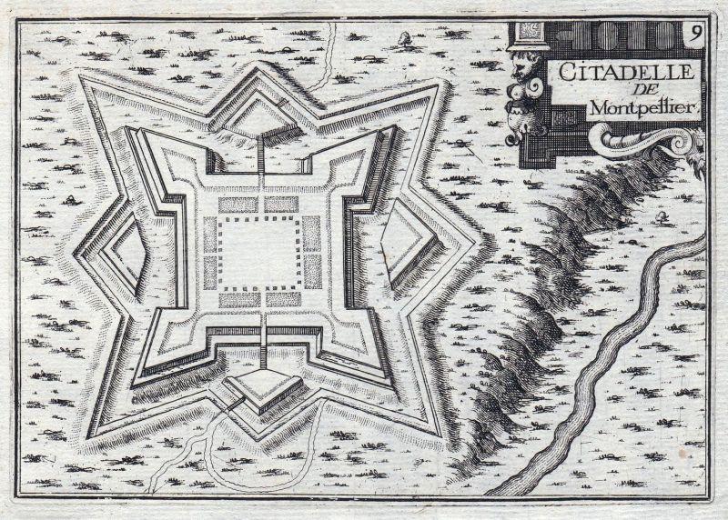 Citadelle de Montpellier - Zitadelle Montpellier Okzitanien Hérault France gravure estampe Kupferstich Tassin