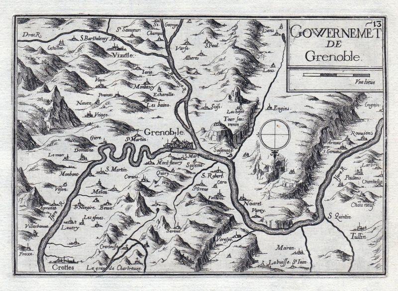 Gouvernement de Grenoble - Grenoble Auvergne-Rhône-Alpes Isere France gravure estampe Kupferstich Tassin
