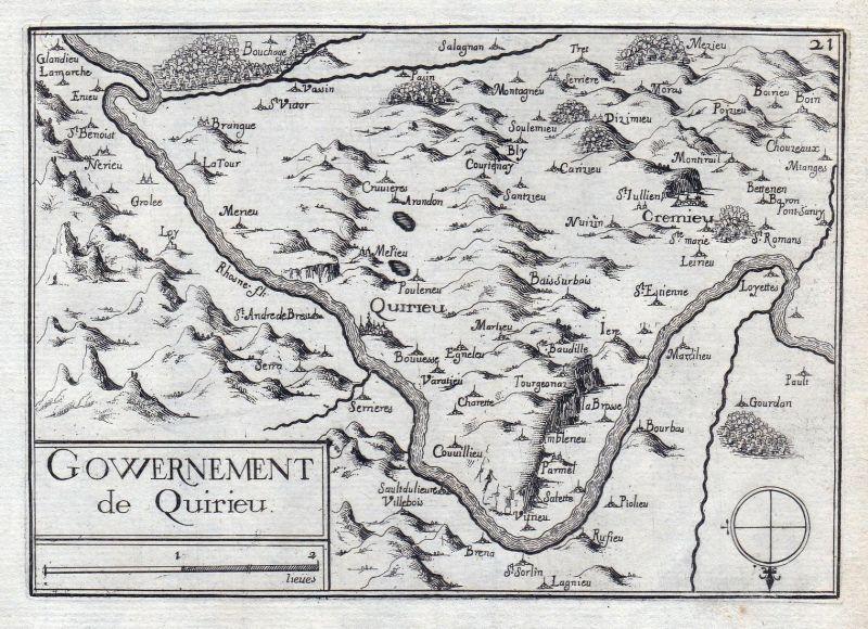 Gouvernement de Quirieu - Auvergne-Rhone-Alpes Isere France gravure estampe Kupferstich Tassin