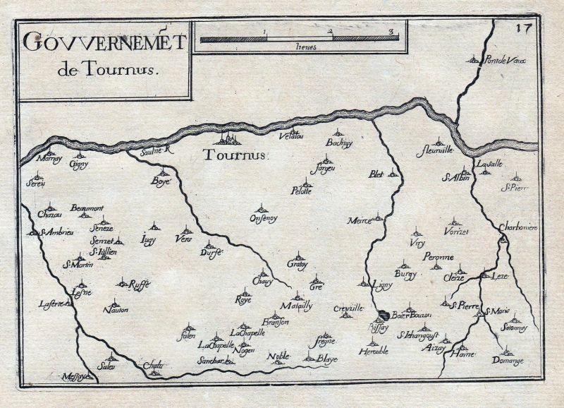 Gouvernemet de Tournus - Tournus Saone-et-Loire Bourgogne Burgund France gravure estampe Kupferstich Tassin