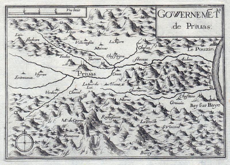 Gouvernemet de Piruas - Privas Rhone-Alpes Ardeche France gravure estampe Kupferstich Tassin