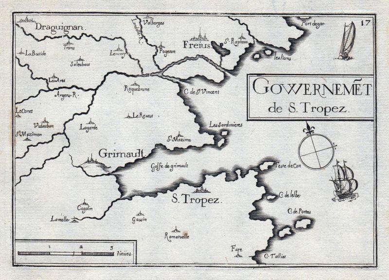 Gouvernemet de S. Tropez - Tropez Provence-Alpes-Côte d'Azur Var France gravure estampe Kupferstich Tassin