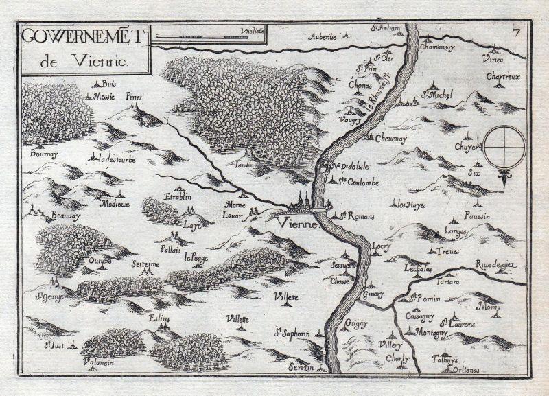 Gouvernemet de Vienne - Vienne Auvergne-Rhone-Alpes Dauphine France gravure estampe Kupferstich Tassin