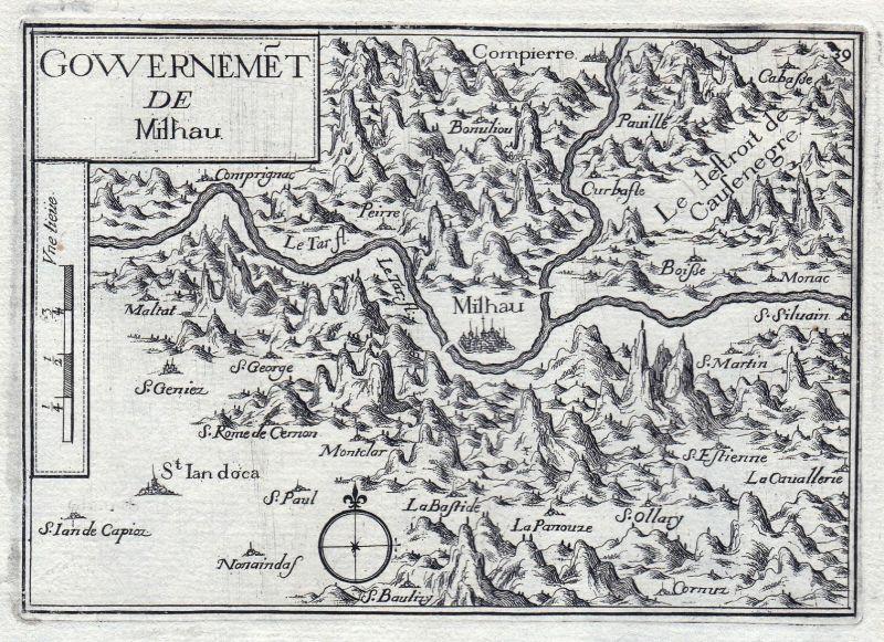 Gouvernemet de Milhau - Millau Midi-Pyrenees Aveyron France gravure estampe Kupferstich Tassin