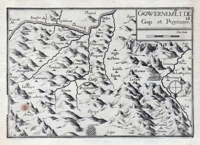 Gouvernemet de Gap et Puymore - Alpes-Cote d'Azur Haute-Aples France gravure estampe Kupferstich Tassin