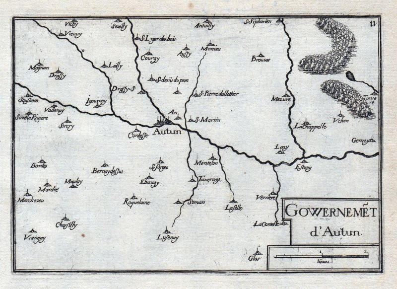 Gouvernemet d'Autun - Autun Saone-et-Loire Burgund Bourgogne France gravure estampe Kupferstich Tassin