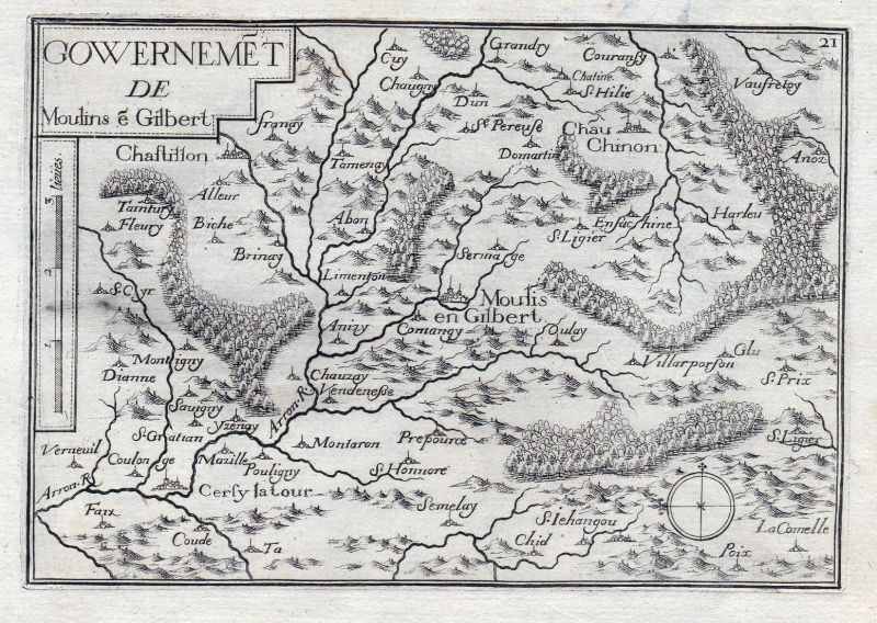 Gouvernemet de Moulins e Gilbert - Moulins-Engilbert Nievre Burgund Bourgogne France gravure estampe Kupfersti