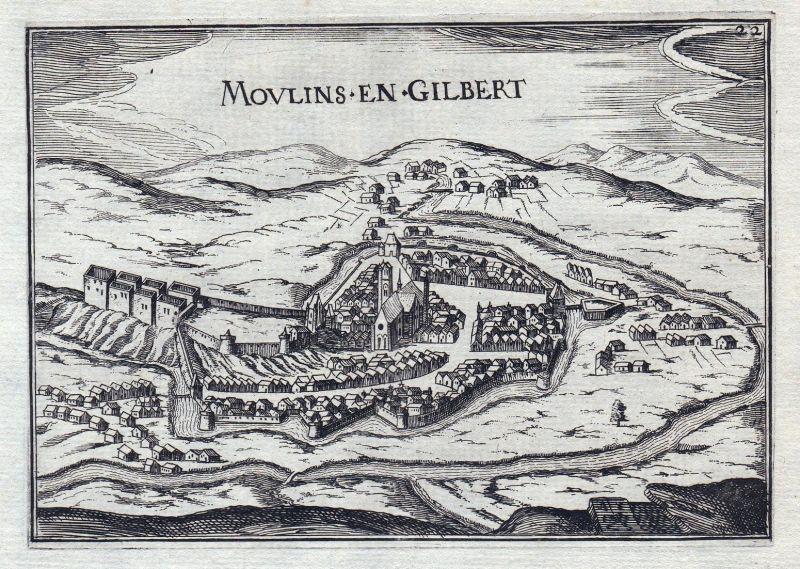 Moulins en Gilbert - Moulins-Engilbert Nievre Burgund Bourgogne France gravure estampe Kupferstich Tassin