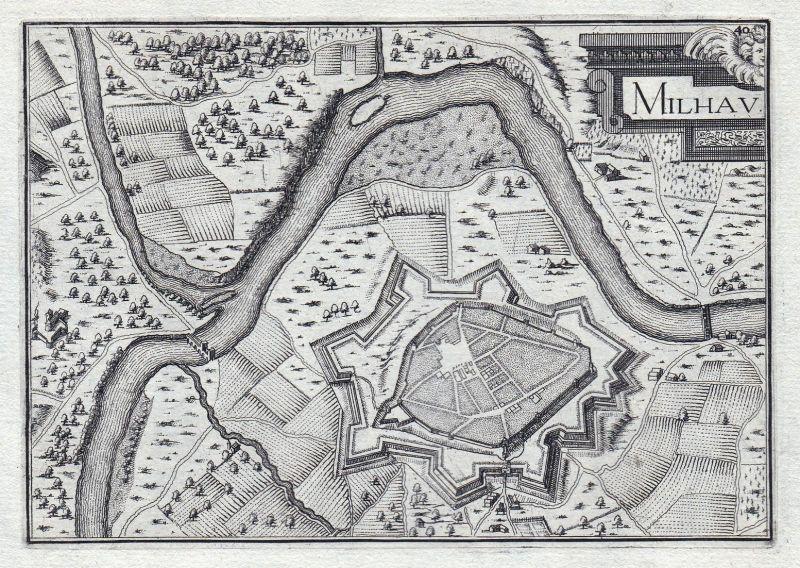 Milhau - Millau Aveyron France gravure estampe Kupferstich Tassin
