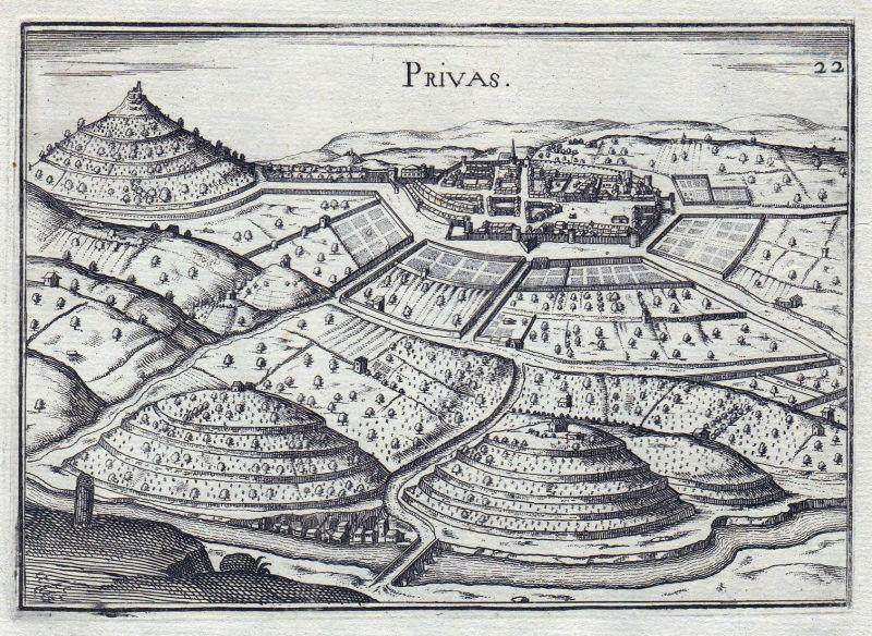 Privas - Privas Rhone-Alpes Ardeche France gravure estampe Kupferstich Tassin