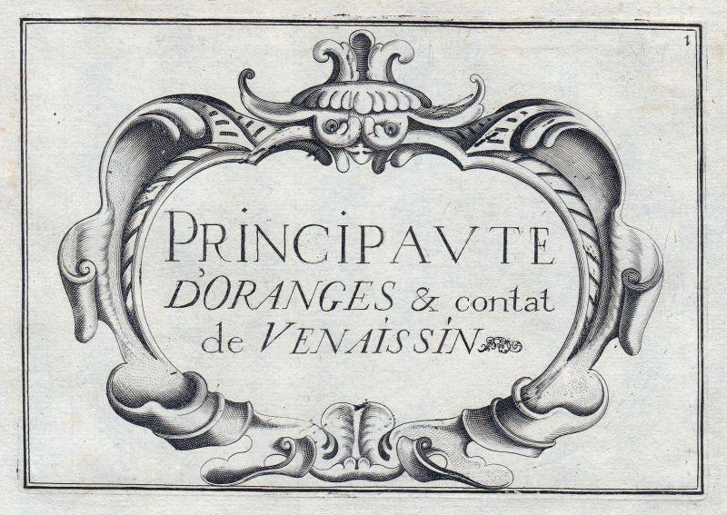 Principaute d'Oranges & Comtat Venaissin - Avignon Provence titel Ornament France gravure estampe Kupferstich