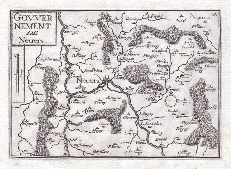 Gouvernement de Neuers - Nevers Nievre Bourgogne Burgund France gravure estampe Kupferstich Tassin