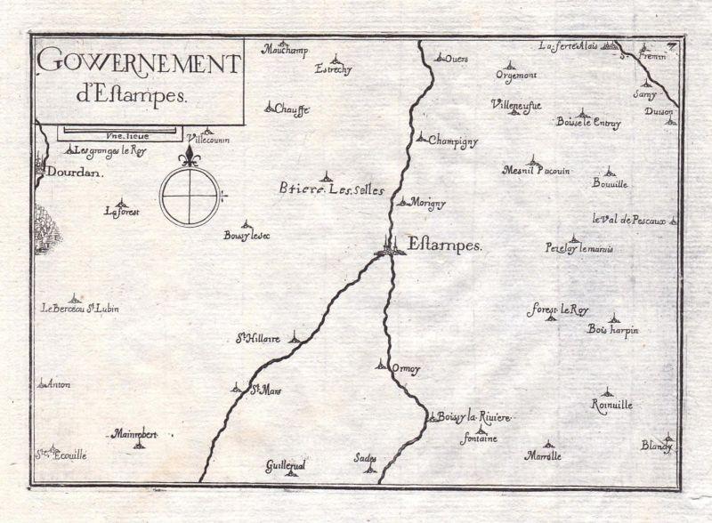 Gouvernement d'Estampes - Etampes Ile-de-France France gravure estampe Kupferstich Tassin