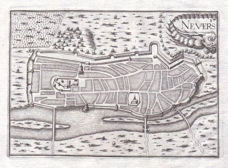 Neuers - Nevers Nievre Burgund Bourgogne France gravure estampe Kupferstich Tassin