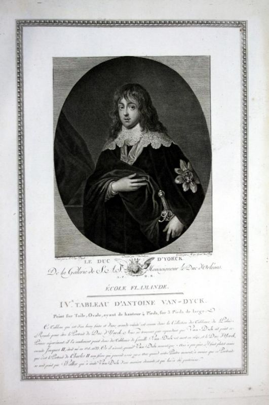 Le duc d'Yorck - James Stuart Duke of York Portrait Kupferstich antique print