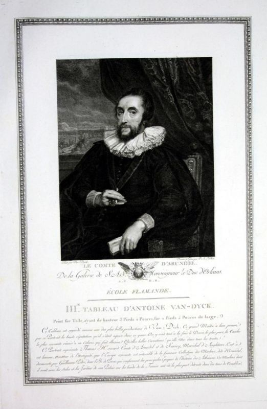 Le comte d'Arundel - Thomas Howard Earl of Arundel Portrait Kupferstich antique print