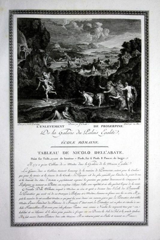 L'Enlevement de Proserpine - Raub der Proserpina enlevement Kupferstich antique print