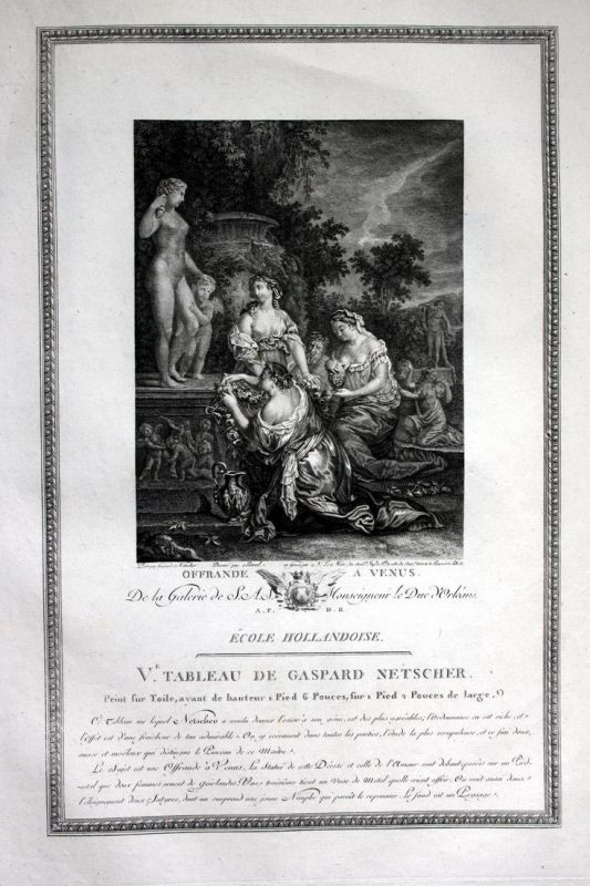 Offrande a Venus - Opfergabe offrande offering Venus Kupferstich antique print
